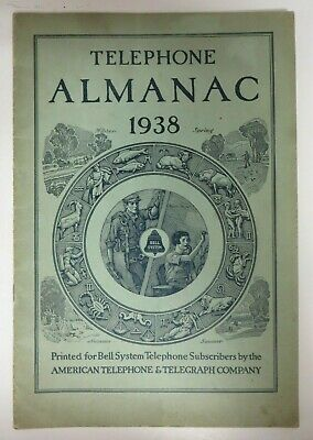 Vintage 1938 TELEPHONE ALMANAC Bell System American Telephone Telegraph Co. RARE