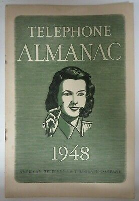 Vintage 1948 TELEPHONE ALMANAC Bell System American Telephone Telegraph Co. RARE