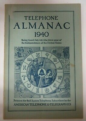 Vintage 1940 TELEPHONE ALMANAC Bell System American Telephone Telegraph Co. RARE