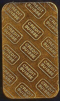 Credit Suisee 20 Gram 24kt. 999 Pure Gold Ingot Bar. Genune, Serial Numbered