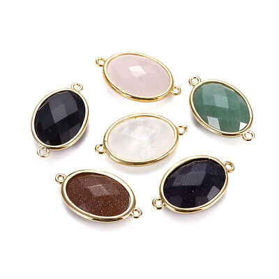 20PCS Golden Tone Brass Gemstone Links Pendants Charms Faceted Oval 26.5x15mm