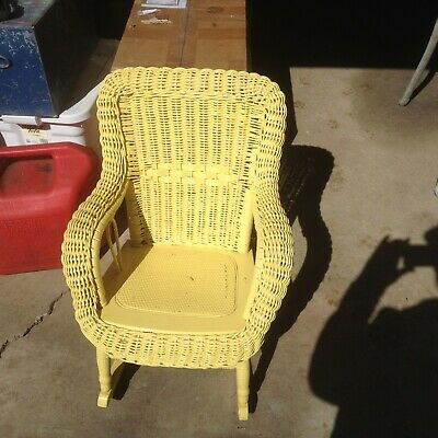 Vintage Wicker Child Rocking Chair White Rocker Antique