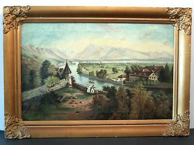 18th/19th c. EUROPEAN Oil Painting RURAL & RIVER LANDSCAPE W/PEOPLE Unsigned