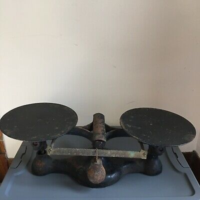 Vintage Original Black Paint Cast Iron Balance Scale With 2 Weights