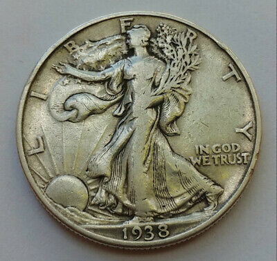 1938 Liberty Walking Silver Half Dollar F-Fine