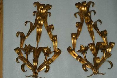 Pair ITALIAN Tole Wall Sconces Candle Holder HOLLYWOOD Regency Vintage 17""