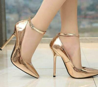 14CM Womens Pumps Ankle Buckle Pointy Toe Stiletto High Heel Patent Leather Shoe