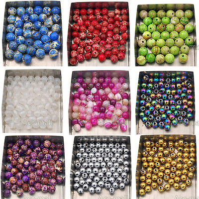 Wholesale Natural Gemstone Round Spacer Loose Beads 4mm 6mm 8mm jewelry