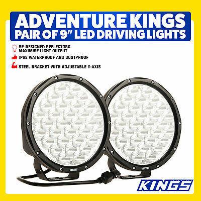 Kings 9inch Driving Lights Pair LED Round Spot Round Work SUV Black 4WD SUV