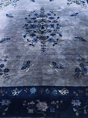 Antique Chinese From 1915-1920,s Hand Made Hand Knotted Oriental Rug 8.5x9.5.