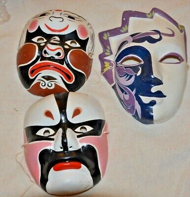 Vintage Lot of 2 Chinese & 1 Venice Paper Mache Masks Hand Painted Face