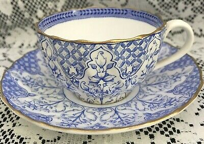Vintage Copeland Bone China Tea Cup & Saucer, Blue & White with Gold Trim