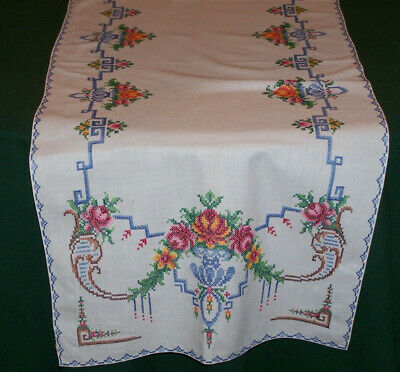 "LOVELY VINTAGE CROSS STITCH EMBROIDERED RUNNER, 50"", FLORAL ART NOUVEAU , c1920"
