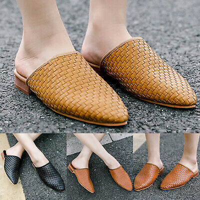 Womens Summer Casual Holiday Low Heel Flat Slip On Sandals Point Toe Mules Shoes