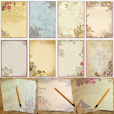 10Pcs Retro Writing Paper Rose Flower Printing Letter Stationery Postcard Supply