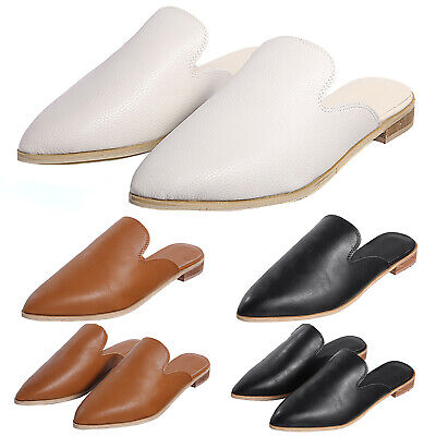 Womens Ladies Summer Casual Low Heel Flat Slip On Sandals Point Toe Mules Shoes