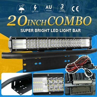 20inch CREE LED Light Bar FLOOD SPOT Work Driving Bar w/ 23'' Number Plate Frame