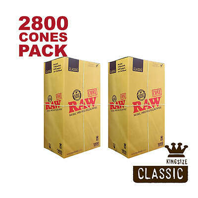 RAW 2800 Classic King Size Cones - Pure Hemp 109mm Pre Rolled Cones