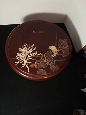 Vintage Japanese Lacquer Round Lidded Box Signed Hand Painted