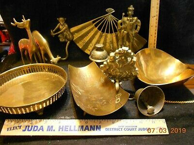 A lot of 10 pieces solid brass a fan a door hanging bell 2 incense burner