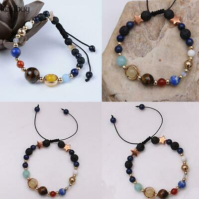 Universe Solar System Galaxy Eight Planets Stone Beads Braided Bracelet KFBY 02