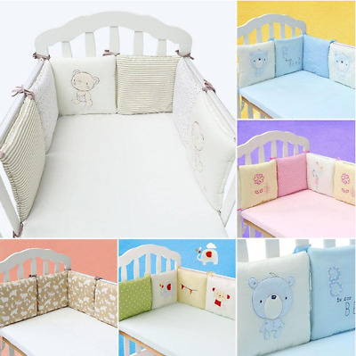 6Pcs Baby Infant Cotton Crib Bumper Nursery Bedding Cot Pillow Pad Protector AUA