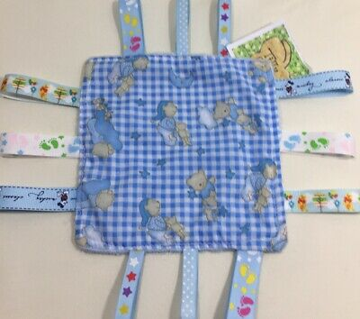Blue Taggie blanket teddies ribbons snuggle tag taggy comfort soft dimple fleece