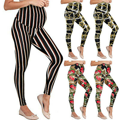 Fashion Ladies Maternity Leggings Seamless Printing Pants Stretch Pregnancy Pant