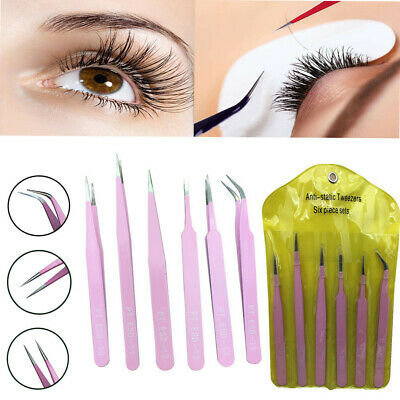 6pcs BGA Precision Tweezer Set Stainless Steel Eyebrow Tweezers Eyelash Curler W