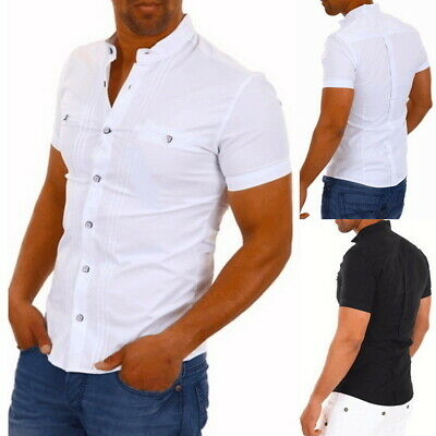 946a1ad2 Men's Henley Short Sleeve Shirt Smart Grandad Collar Loops Cotton White  Black