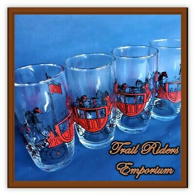 RETRO horse glasses Drinking Tumblers with Horse and Carriage RED BLACK set of 4