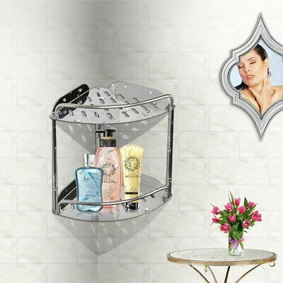 2 Layer Triangular Shower Bathroom Corner Bath Rack Wall Storage Shelf Basket TN