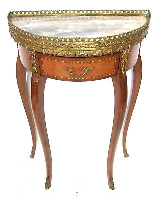 Antique Style Marble Top with Ormolu Mounts Side Table Clock Stand Lamp Stand