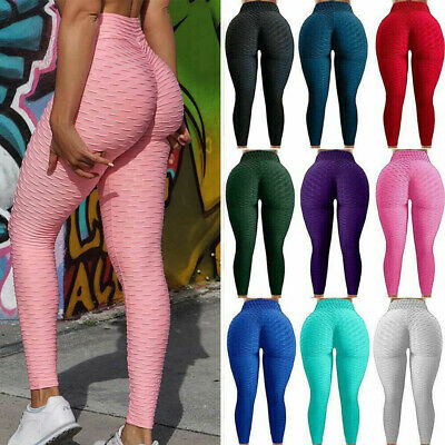 Womens lady Yoga Gym Anti-Cellulite Compression Leggings Butt Lift Elastic Pants