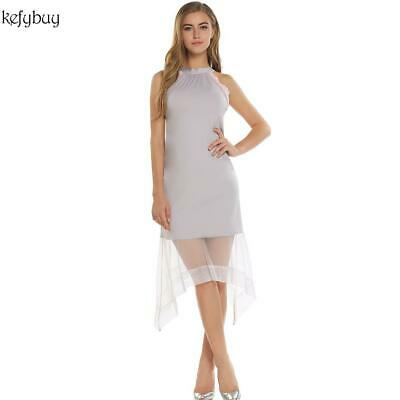 Women's Sexy Flower Backless Sheer Mesh Irregular Hem Slim Fit Party KFBY