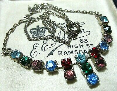 Vintage Antique Art Deco 1930's Rainbow Glass Crystal Rhinestone Drop NECKLACE