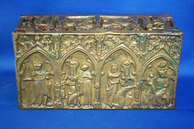 A rare antique Victorian brass gothic, medieval, church, religious casket