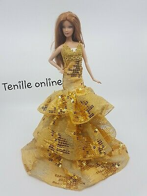 New Barbie doll clothes outfit princess wedding gown gold sequin ruffles