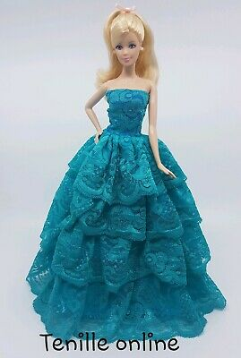 New Barbie doll clothes outfit princess wedding ball gown dress blue green lace