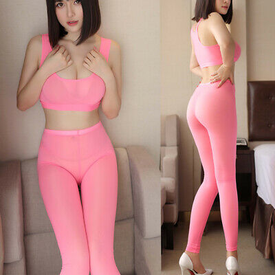 Women Sexy Lingerie Babydoll Bodysuit Crotchless Stretch Tights Bodystocking New