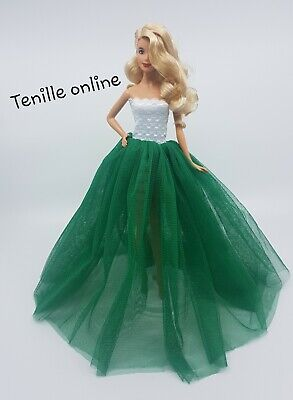 New Barbie doll clothes outfit princess wedding gown dress dark green fluffy