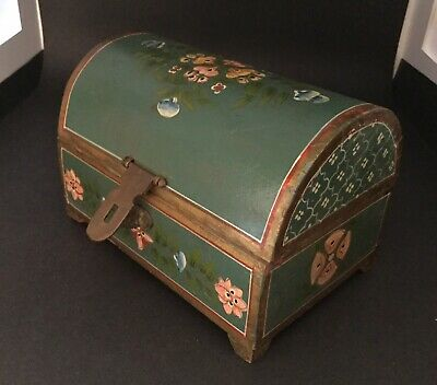 Beautiful Antique Vintage Hand-Painted WOODEN JEWELRY BOX Brass - Folk Art