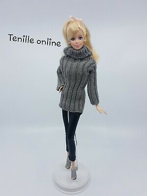 New Barbie doll clothes fashion outfit knit sweater pants complete shoes gray