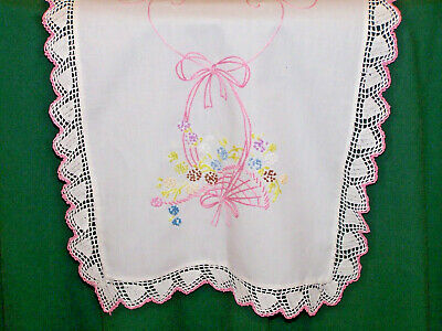 Beautiful Vintage Flower Basket Embroidered Runner, Ribbons, Bows, Crochet, 1920