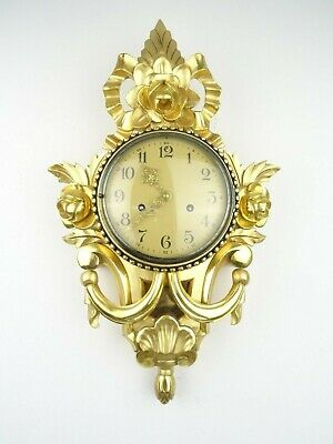 Swedish Vintage Antique Wall Clock Mid Century Gilt 8 day (Westerstrand era)