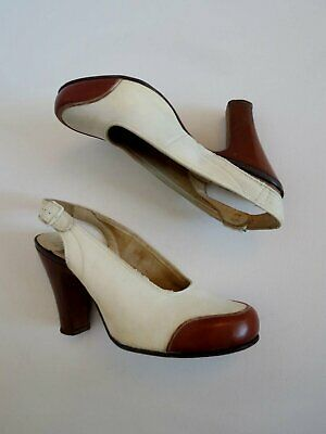Original Vintage 1940s Suede Slingback Shoes With Contrast Toes - Size 4