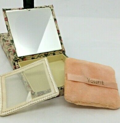Vintage Volupte Mirrored Compact Fabric Box Vanity Case Cosmetics Collectible