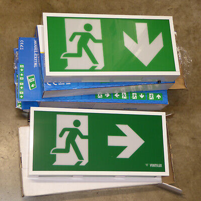 4 x New LED Emergency exit sign light joblot metal Various 3hr battery back up