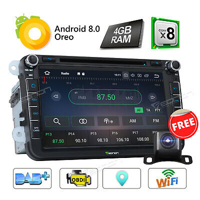 "8"" Double 2 Din Android 8.0 Car Stereo DVD GPS Navigation For VW Skoda Head Unit"