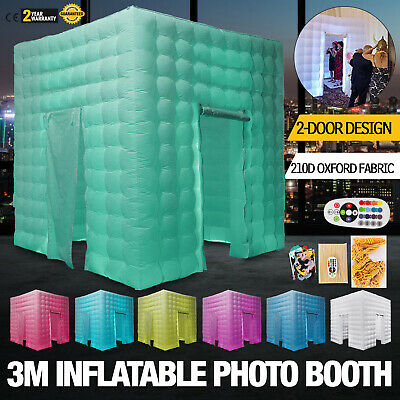 2 Doors Inflatable LED Light Photo Booth Tent 3M 9.8ft Birthday Built-in Blower